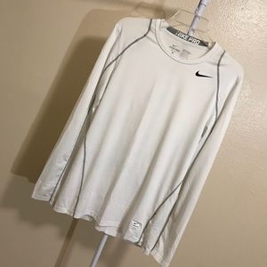 Men's White Nike Pro Fitted Long Sleeve!